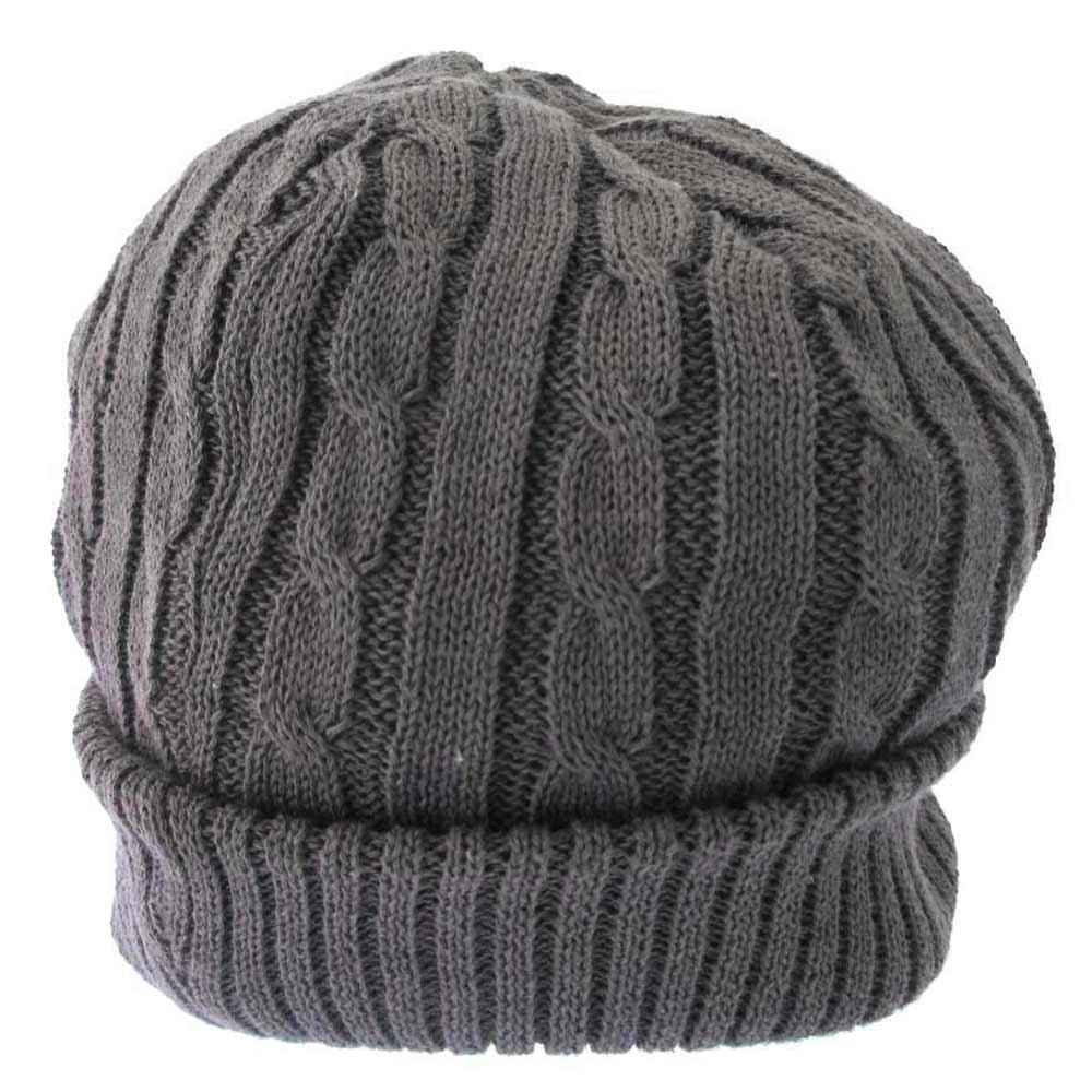 ロゴレザーワッペン付きリブ編みニットビーニー キャップ 帽子