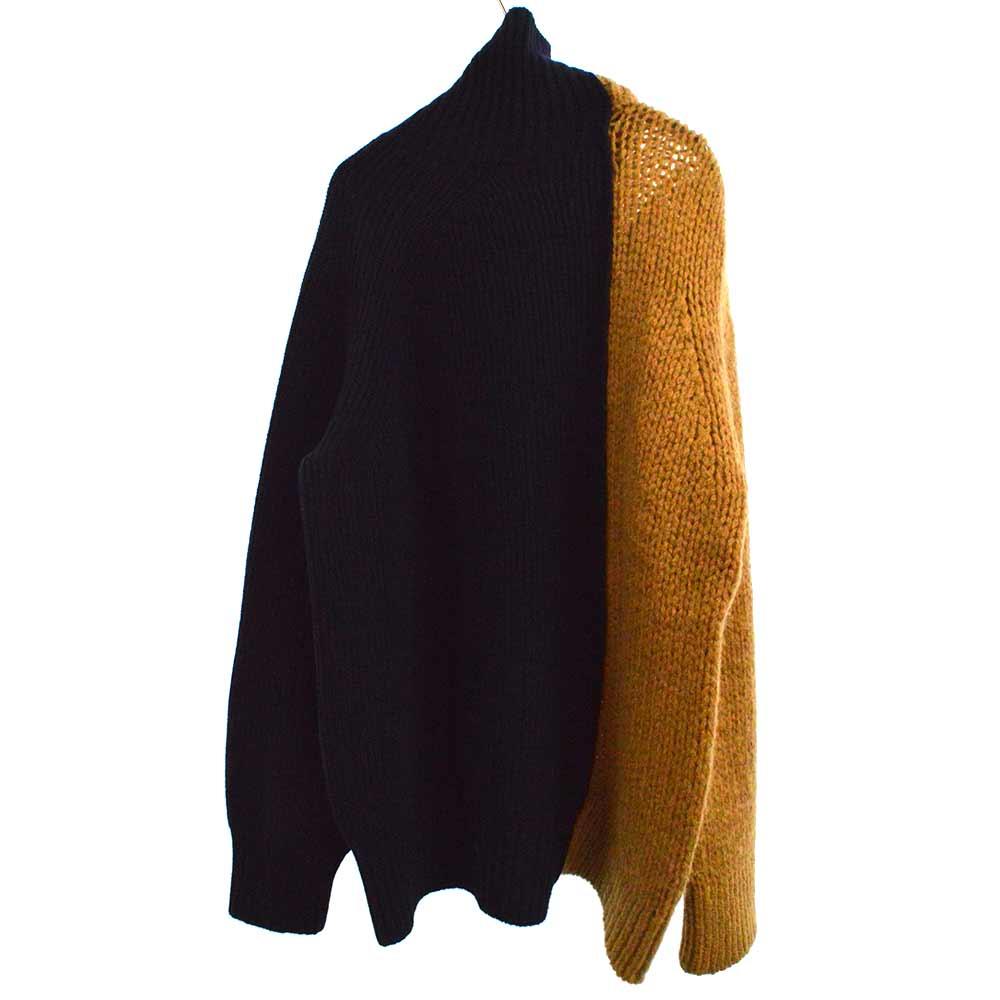 フロントジップアップウールケーブル切替ニットジャケット セーター