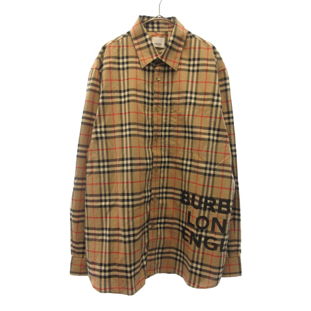 ロゴプリントコットンチェックオーバーサイズ長袖シャツ