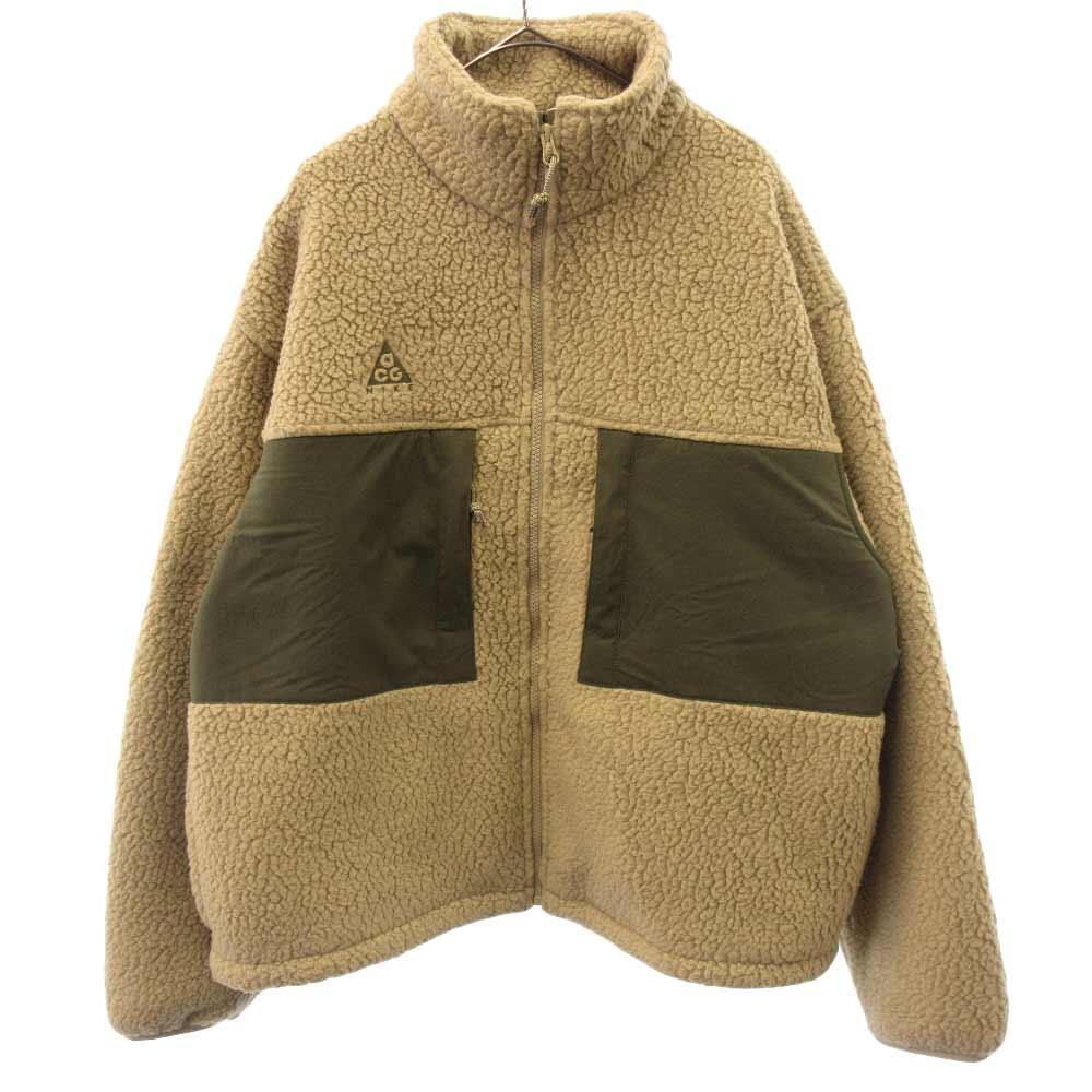 ロゴ刺繍フロントジップアップボアフリースジャケット