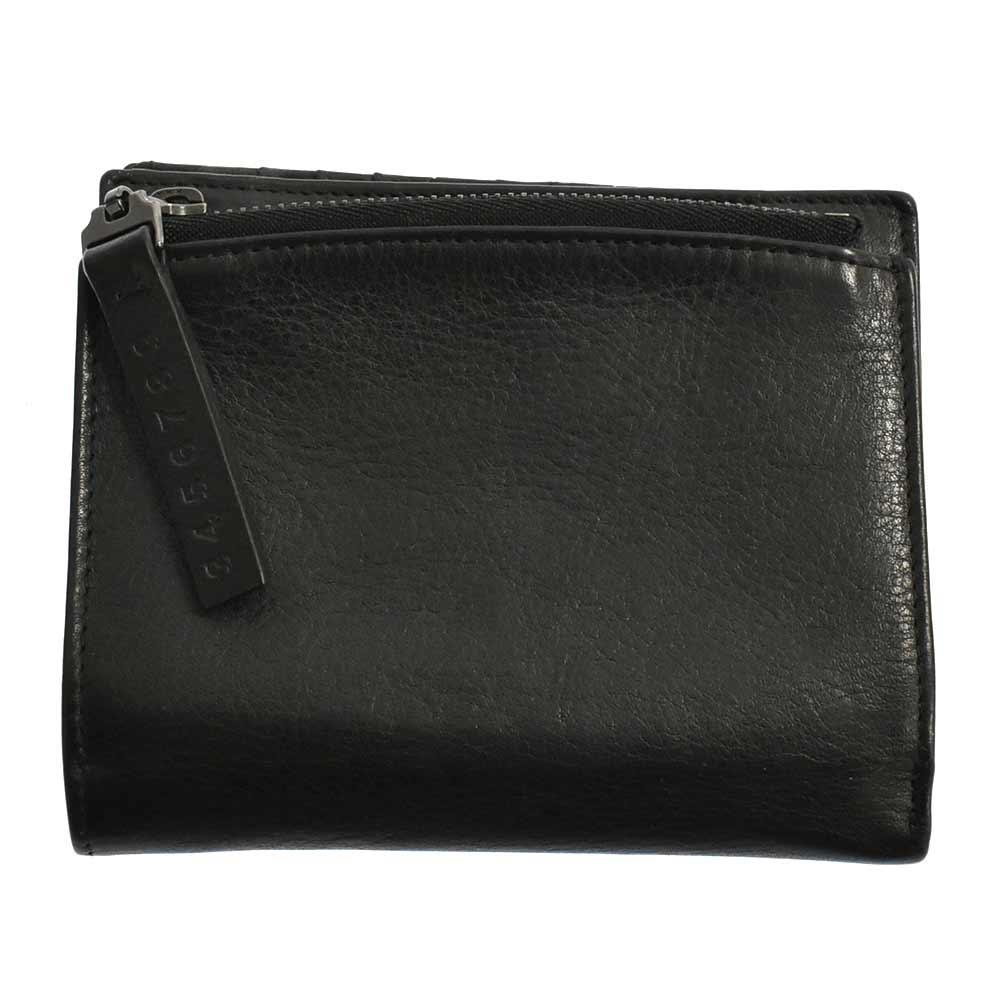 カーフスキンジップウォレット11 二つ折りレザー財布ブラック