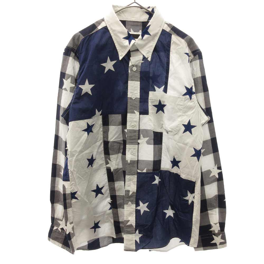 スタープリント長袖チェックシャツ