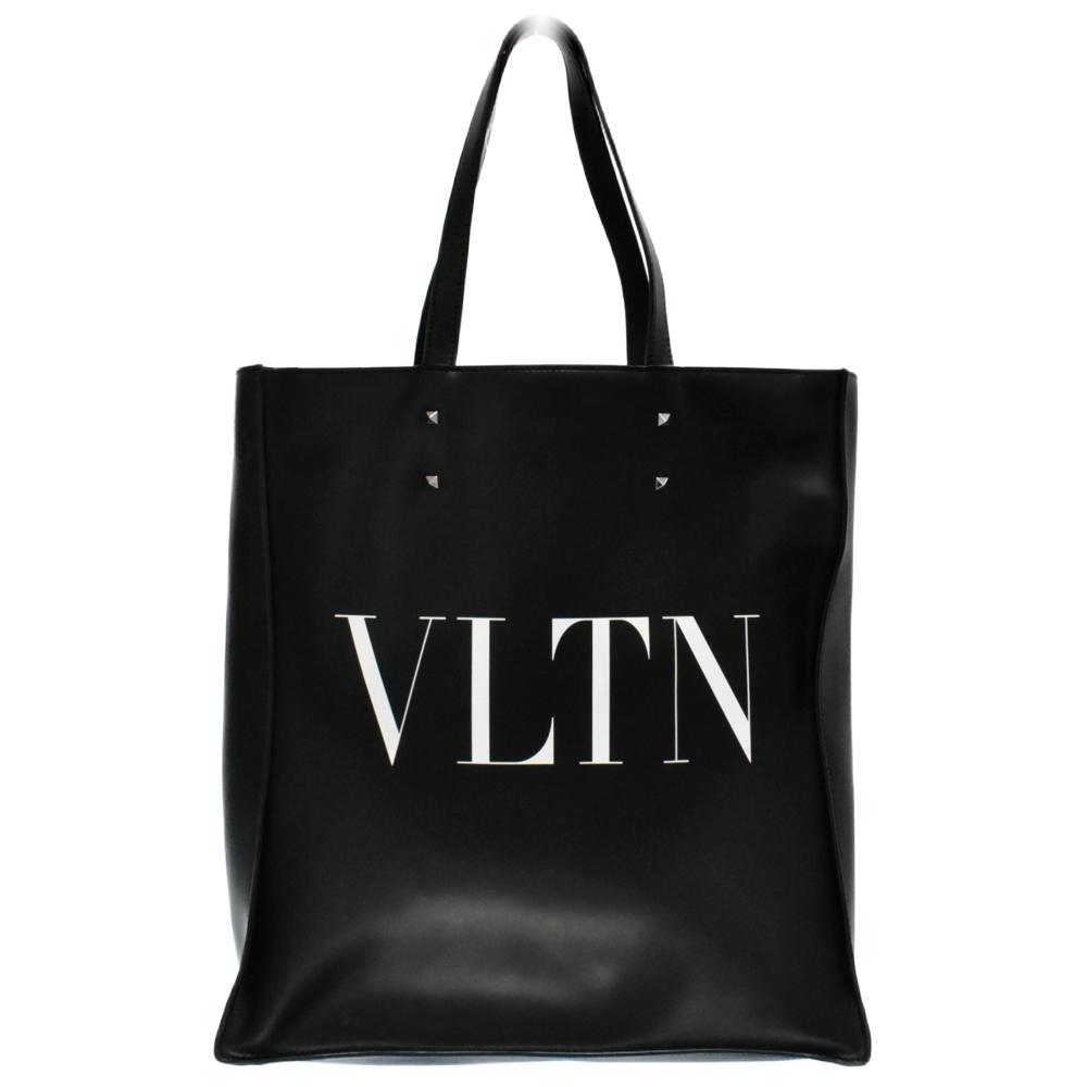 VLTN ピラミッドスタッズカーフスキンショルダーベルト付き 2WAYトートバッグ