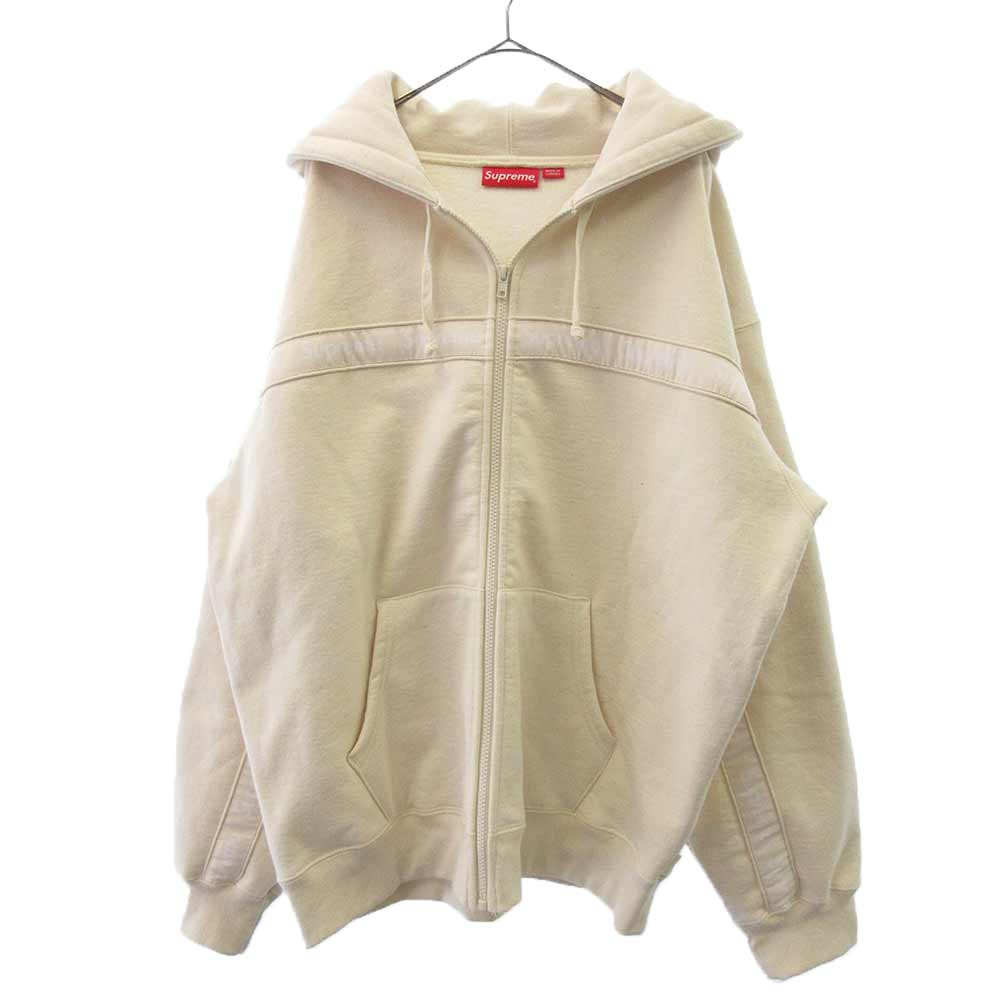 Text Stripe Zip Up Hooded Sweatshirt Natural テキストストライジップアップスウェットパーカー