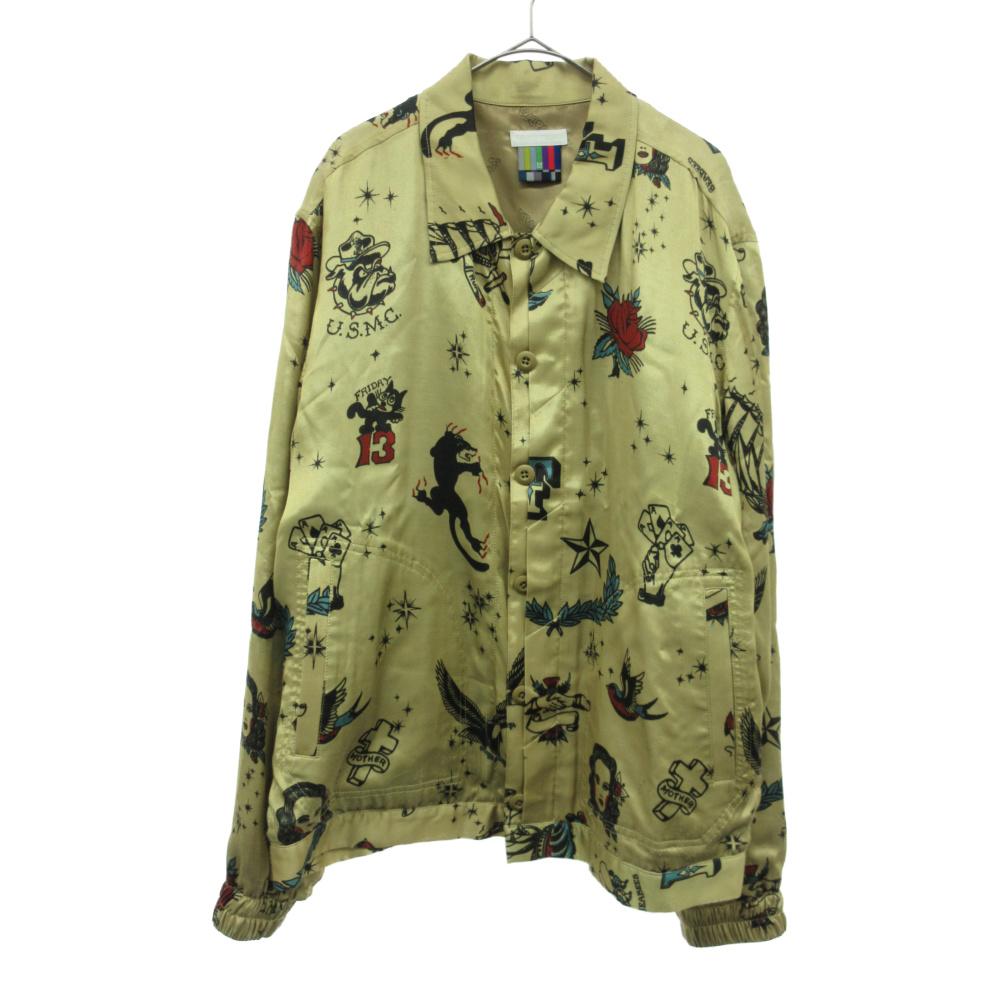 タトゥー総柄デザインレーヨン長袖シャツ