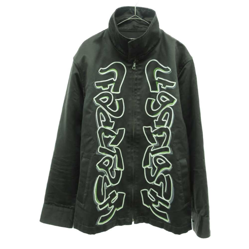 刺繍ステンドカラージップジャケット ダークグリーン