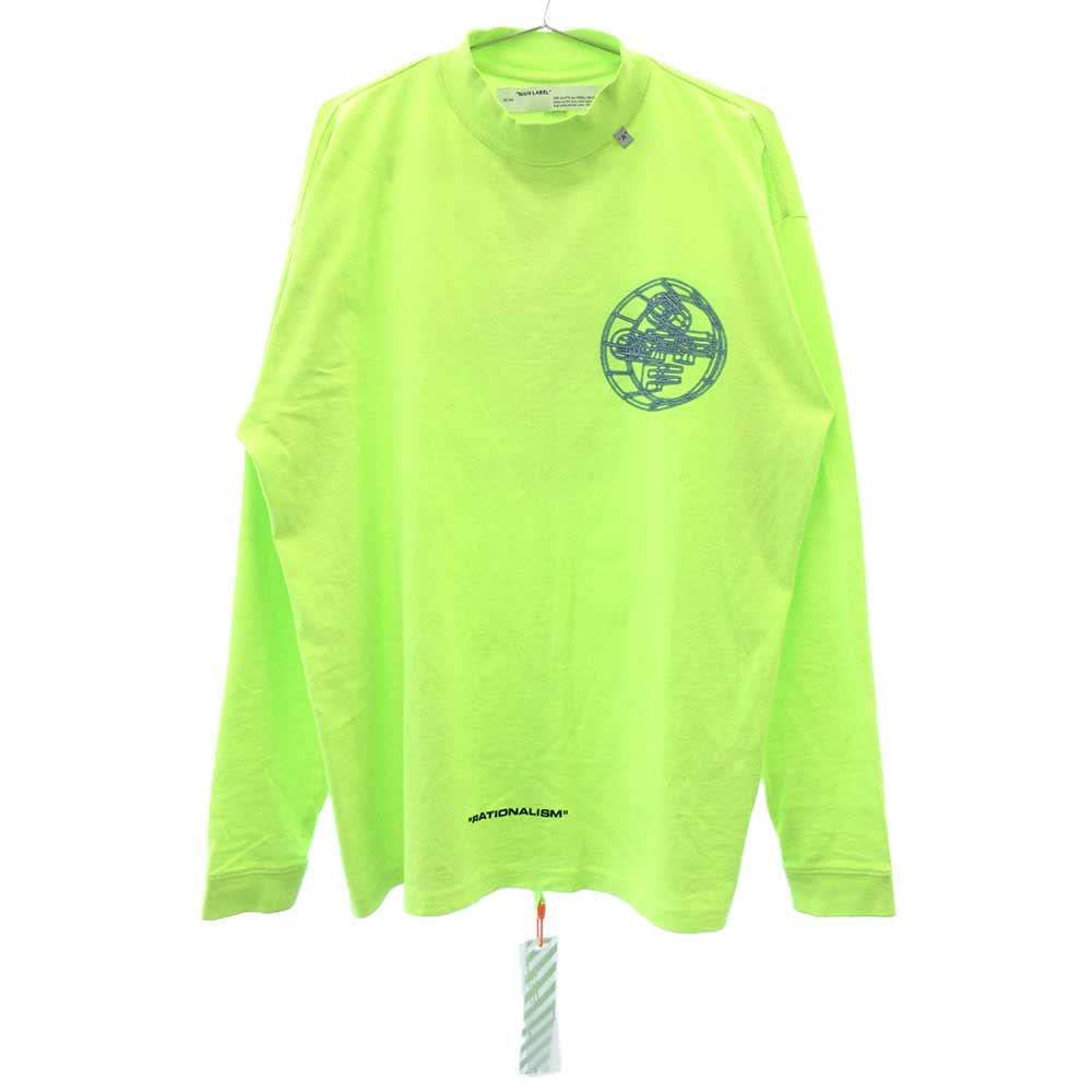 3d crossed off t-shirt OMAB032R20185003 3Dクロスロゴプリントモックネック長袖Tシャツ ネオングリーン