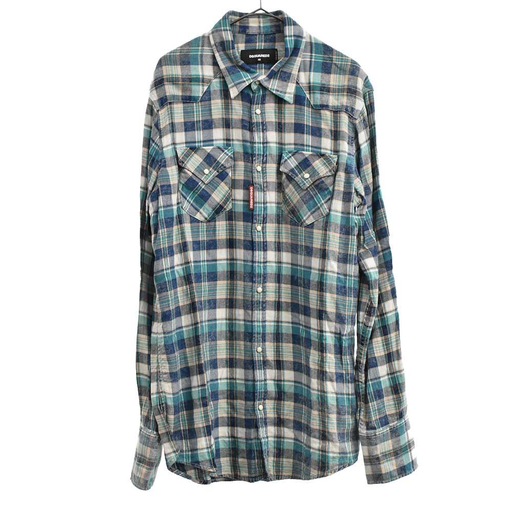 18SSチェック柄長袖シャツ