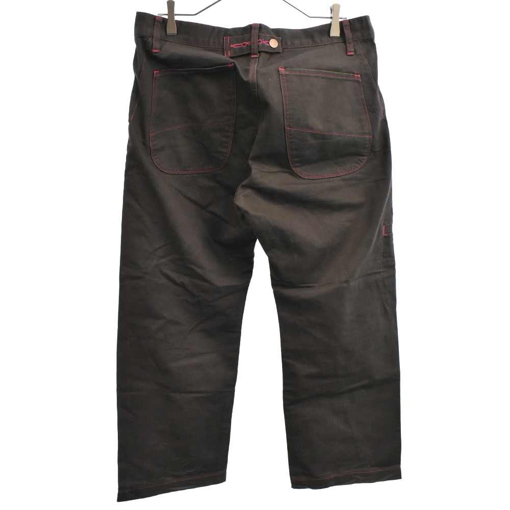 サイドポケット付きステッチデザインコットンストレートパンツ