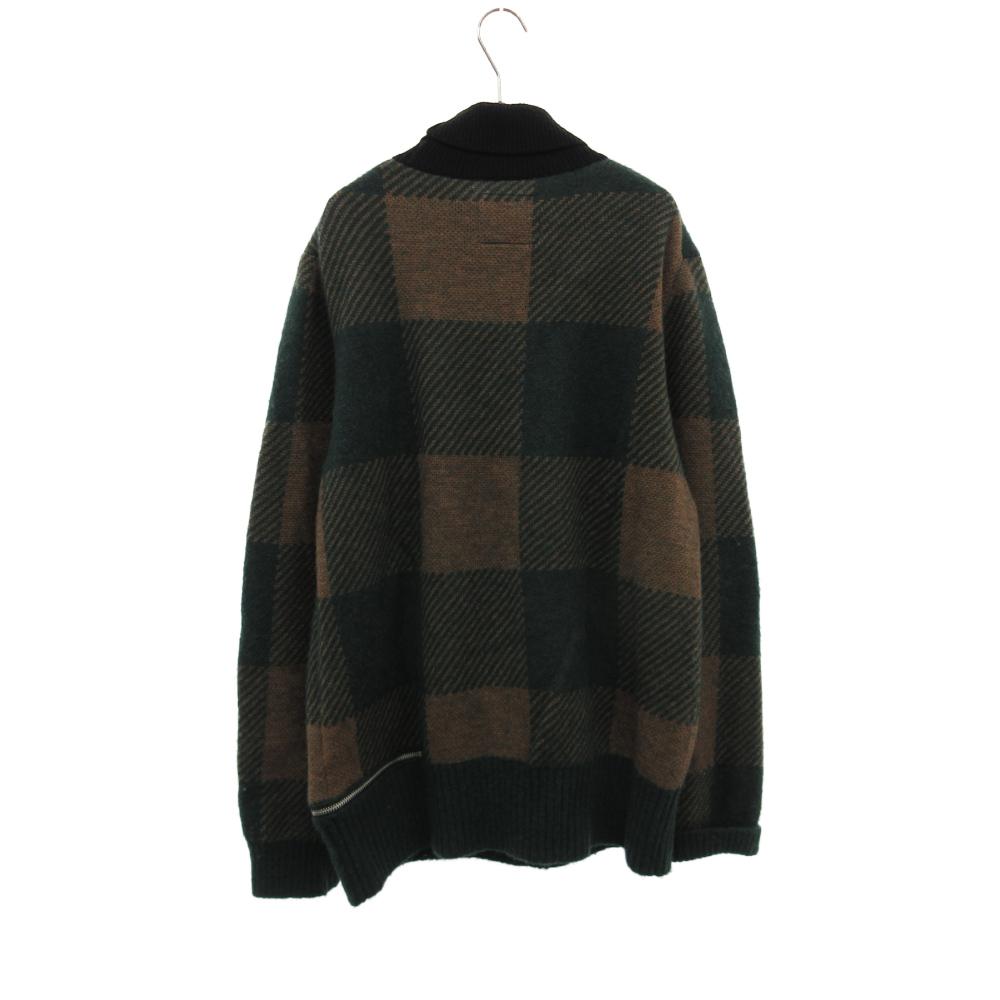 BUFFALO CHECK PULLOVER タートルネック チェック ニット セーター