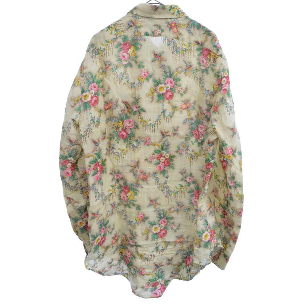 キャット刺繍タイガーフローラルプリントオーバーサイズ長袖シャツ 花柄