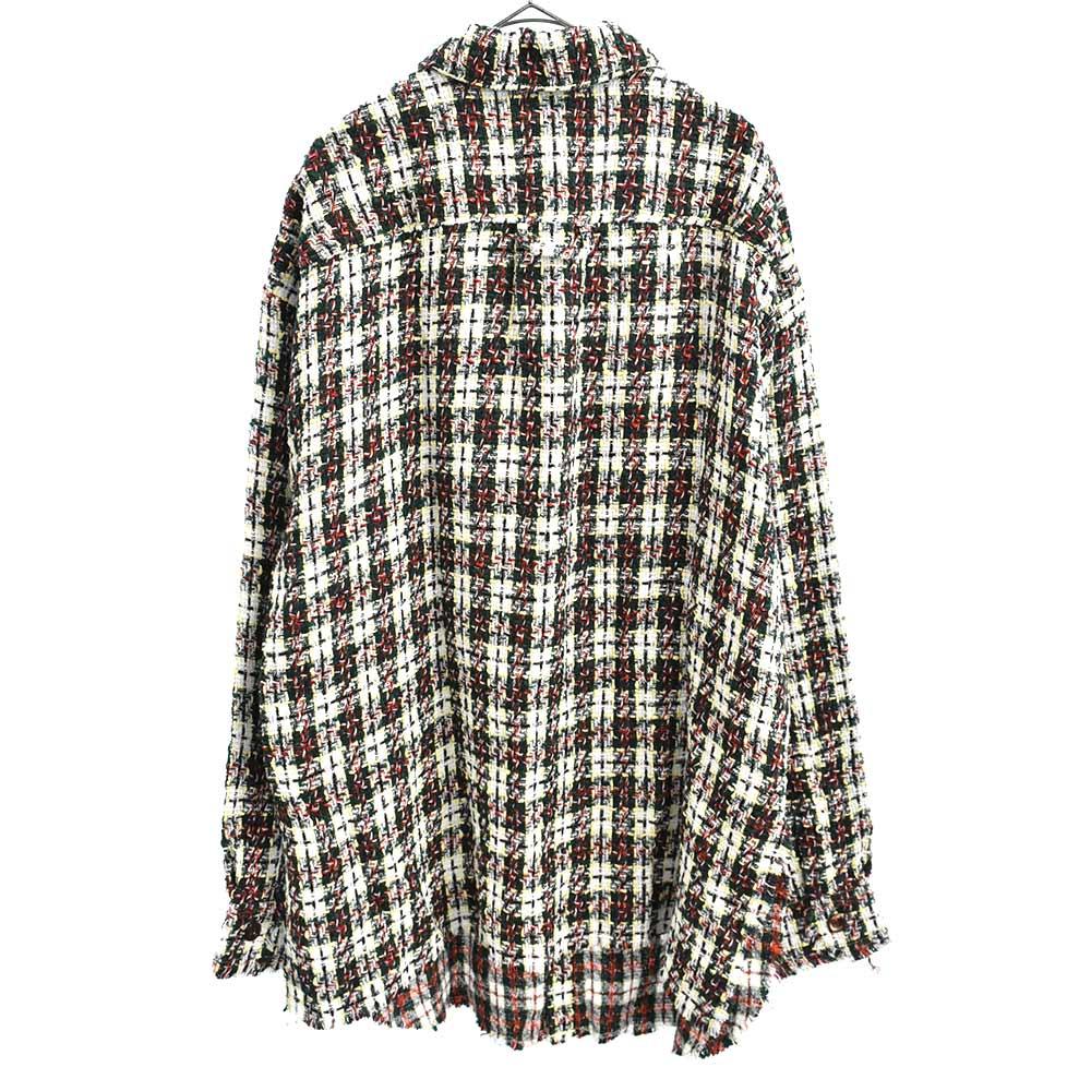 ツイードオーバーサイズ長袖シャツ
