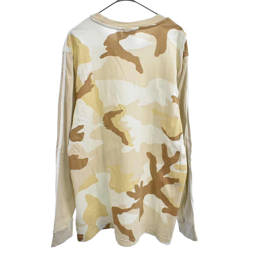 スリーブラインクルーネックカモフラ柄長袖Tシャツ