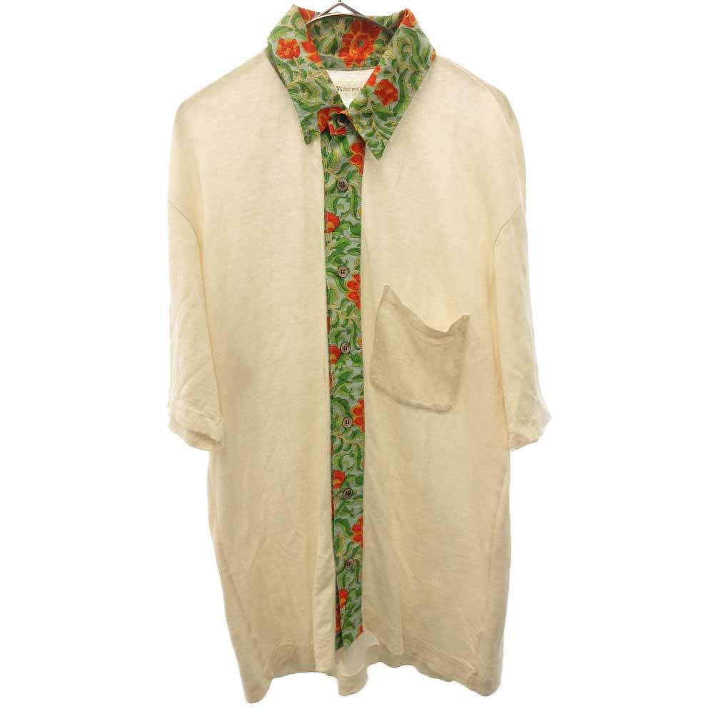 リネンコットンフラワー柄ニット半袖シャツ