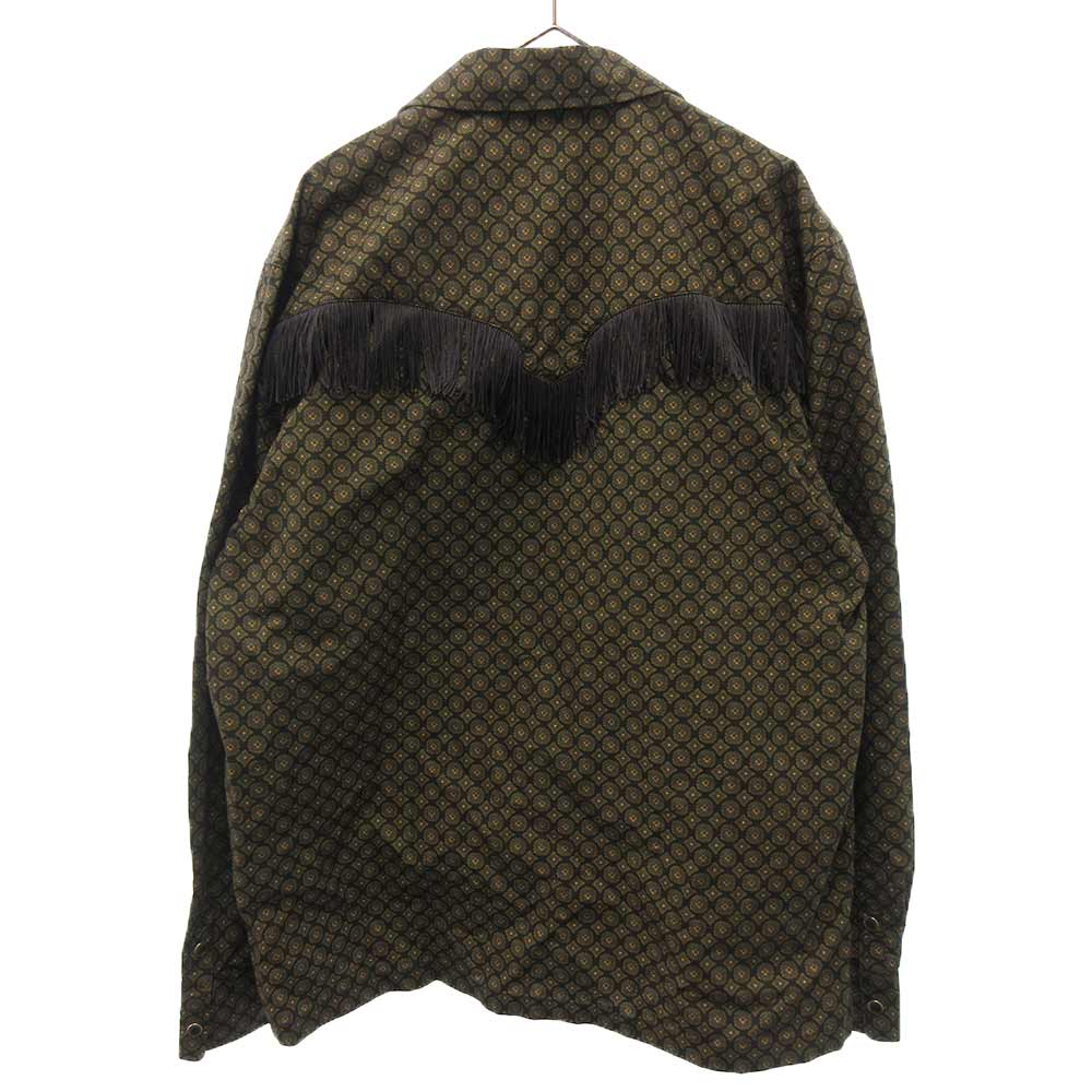 フリンジ付きチェックワーク長袖シャツ