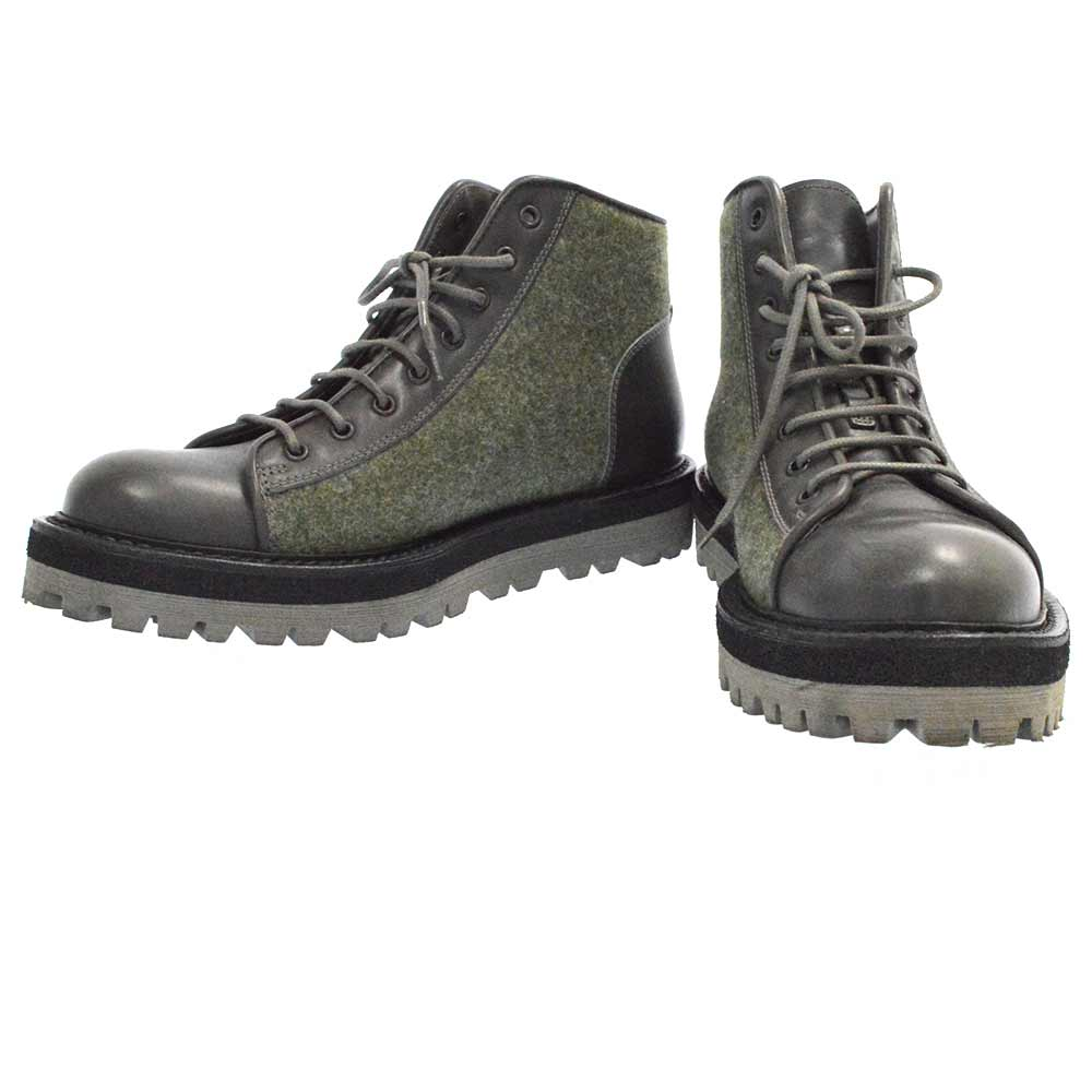 Flannel Boots ウール切替レースアップブーツ