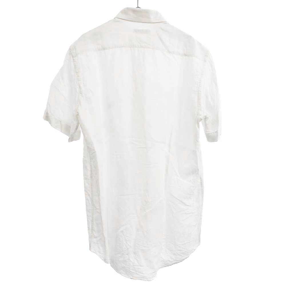 リネンペイズリー柄ボタンダウン半袖シャツ