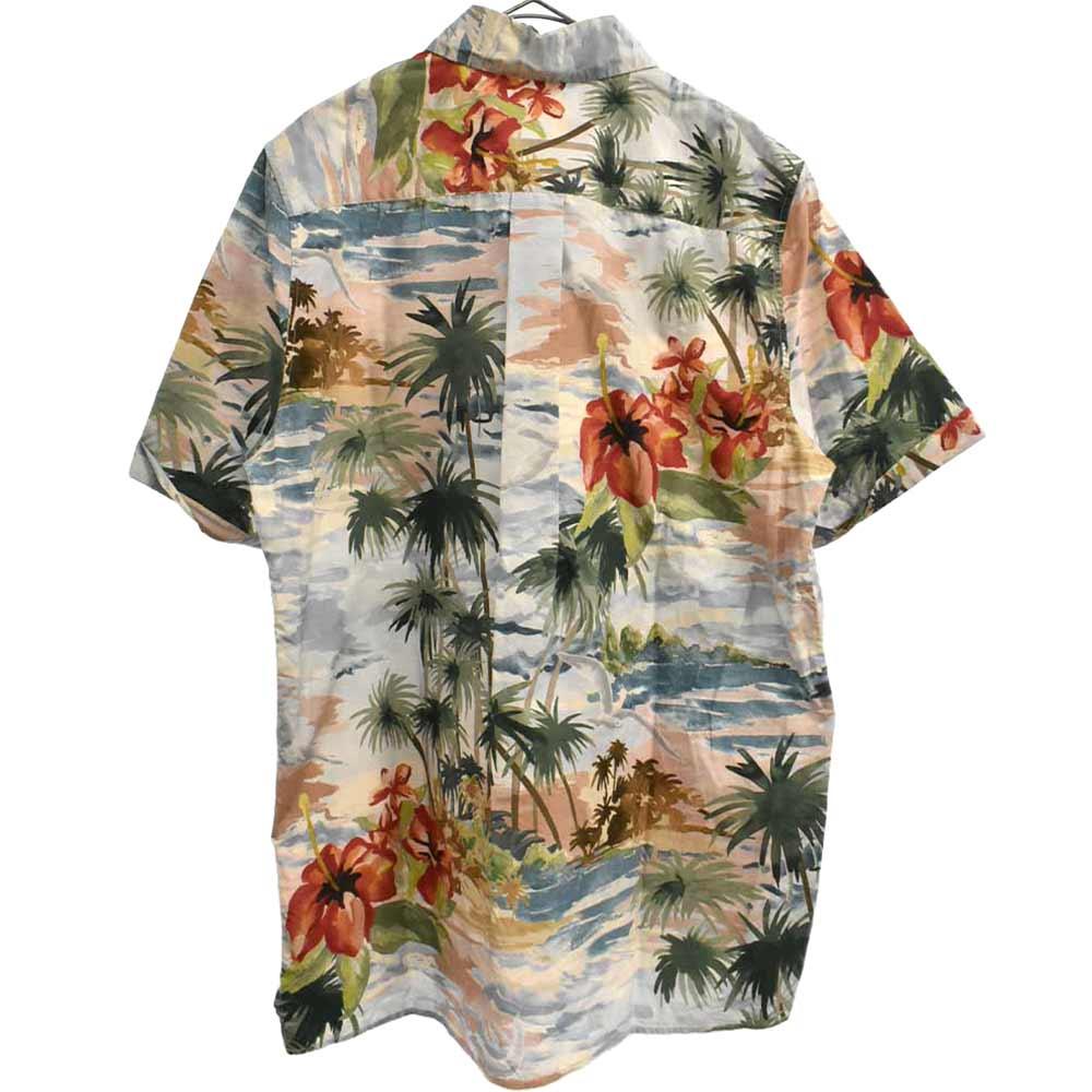 水彩画パームツリーデザインハーフボタンプルオーバー半袖シャツ