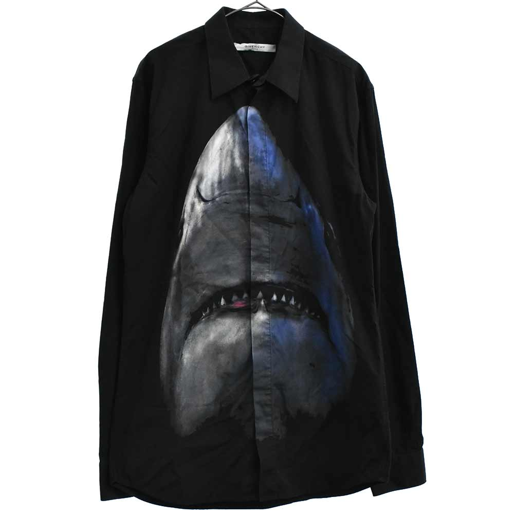 シャークプリント長袖ドレスシャツ