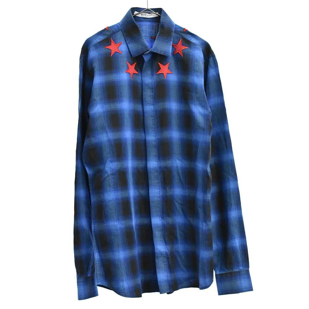 スター刺繍チェック柄長袖シャツ