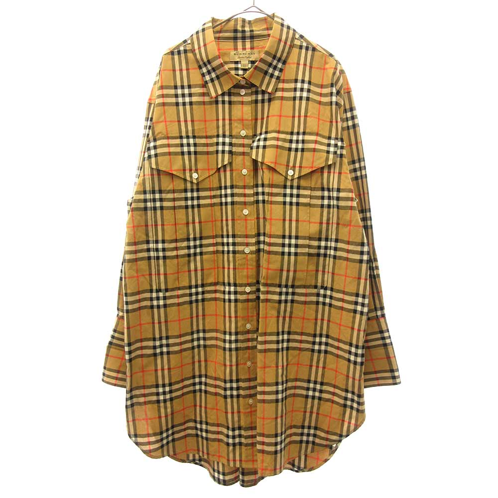 Oversized checked cotton shirt ノヴァチェック オーバーサイズ胸ポケット付き長袖シャツ