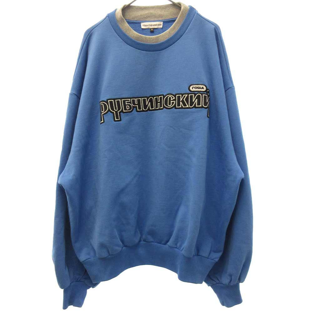 Double Collar Sweatshirtダブルカラーフロントロゴ刺繍クルーネックスウェットトレーナー