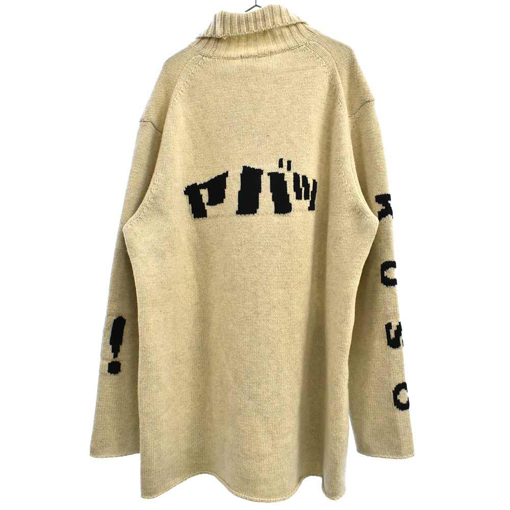 侍ジャガードタートルネックニットセーター
