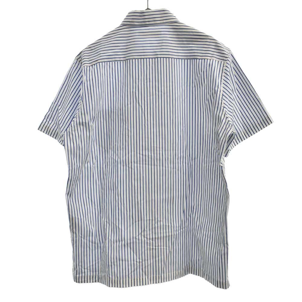 オープンカラーストライプ柄半袖シャツ