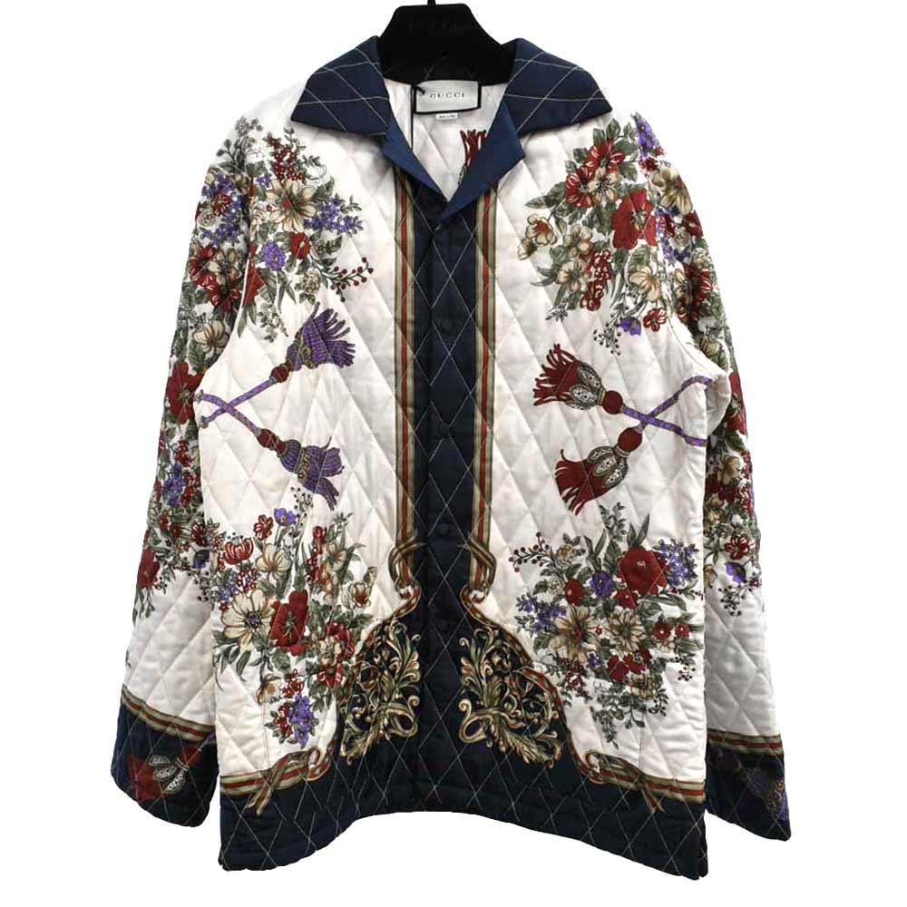 フローラルタッセルキルティングジャケット 花柄 中綿