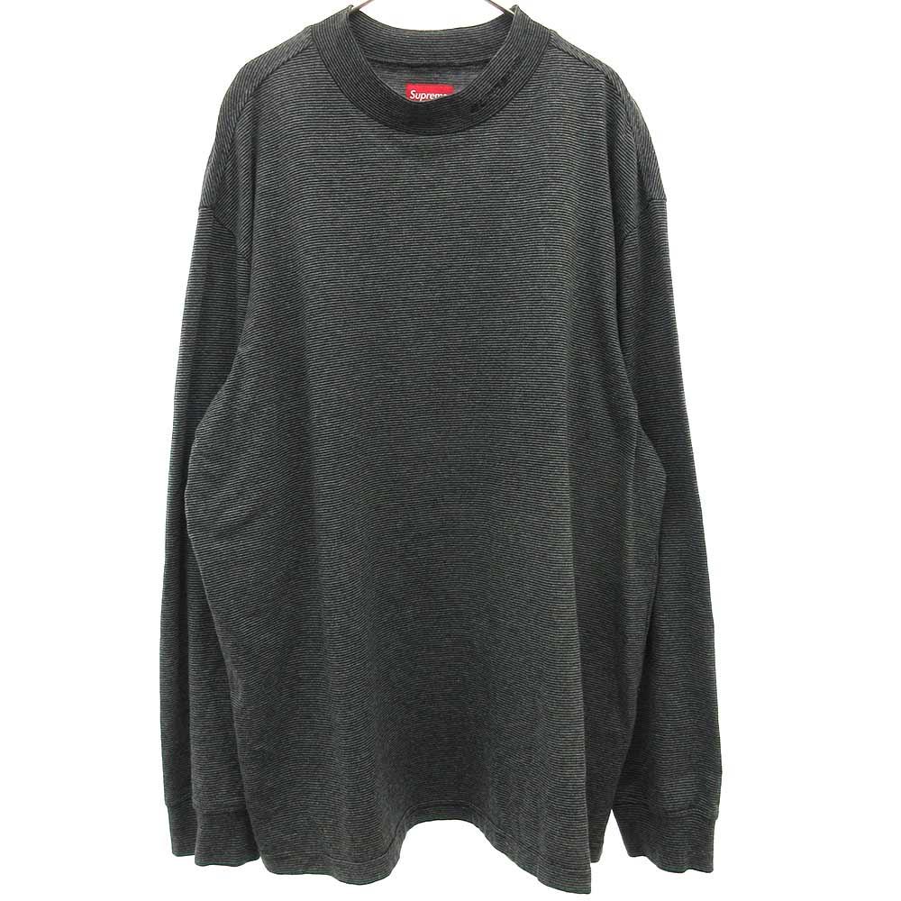ロゴ刺繍ハイネックストライプ長袖カットソーシャツ