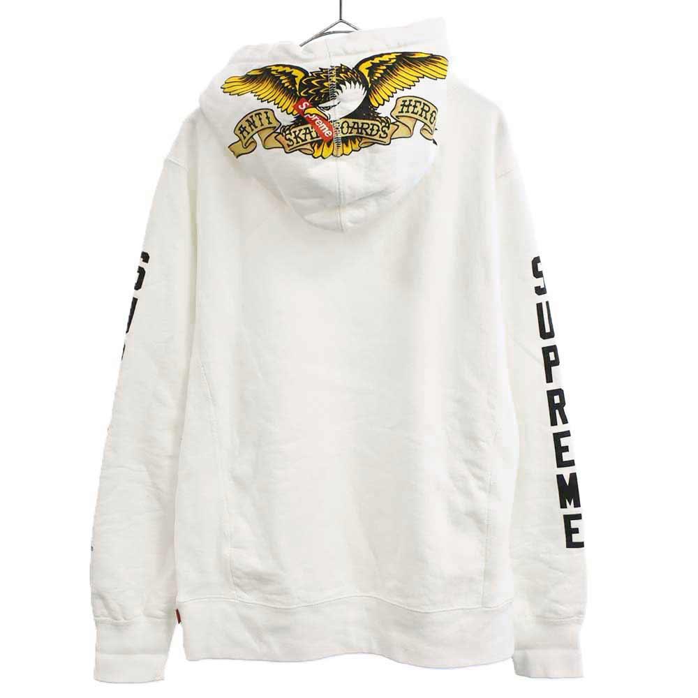 ×ANTI HERO ×アンチヒーロー Hooded Sweatshirt スリーブプリントプルオーバースウェットパーカー