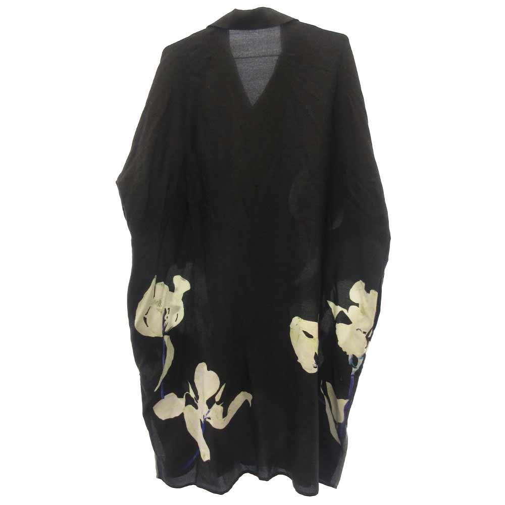 ユリモチーフロング半袖シャツ YY-D17-122 花柄