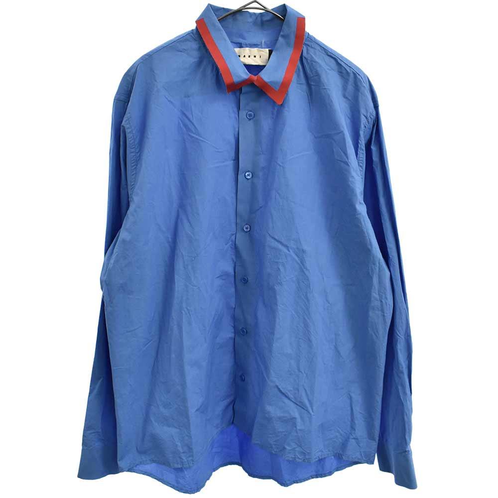 襟テープデザイン長袖シャツ