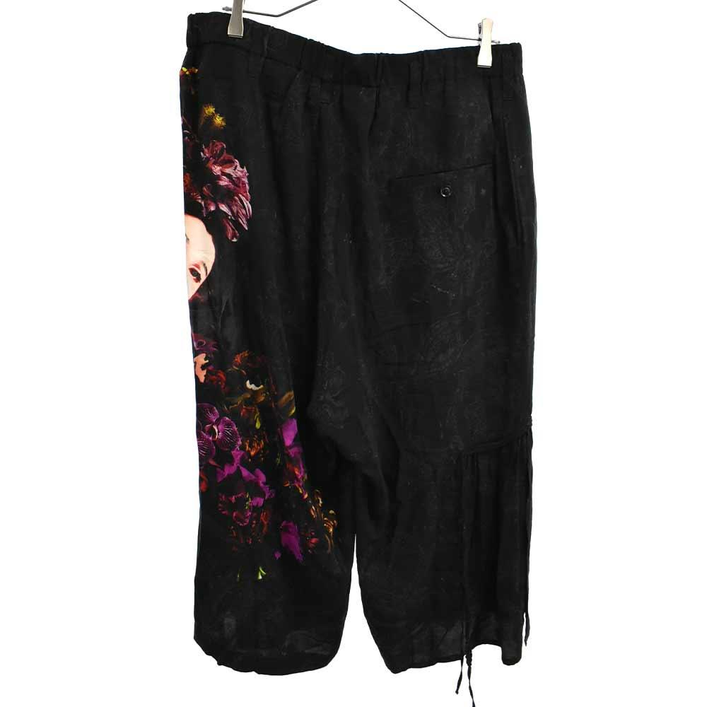 Gather Drawstring Pants Print A 女性プリント花柄イージーパンツ