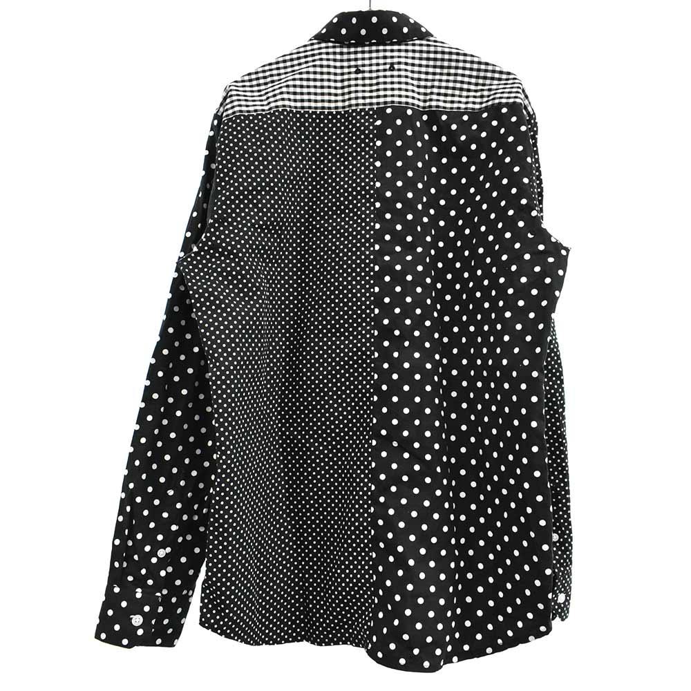 PANEL REGULAR COLLAR SHIRT ギンガムチェック切替ドット柄長袖シャツ