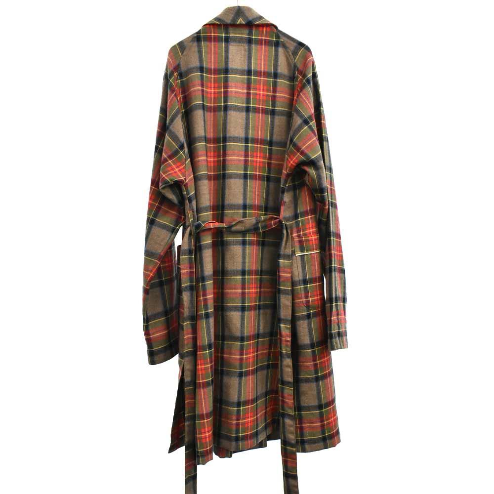 FIFTH COLLECTION Plaid Wool Twill Robe Coat プレイドウールツイルローブコート チェック柄ガウンコート