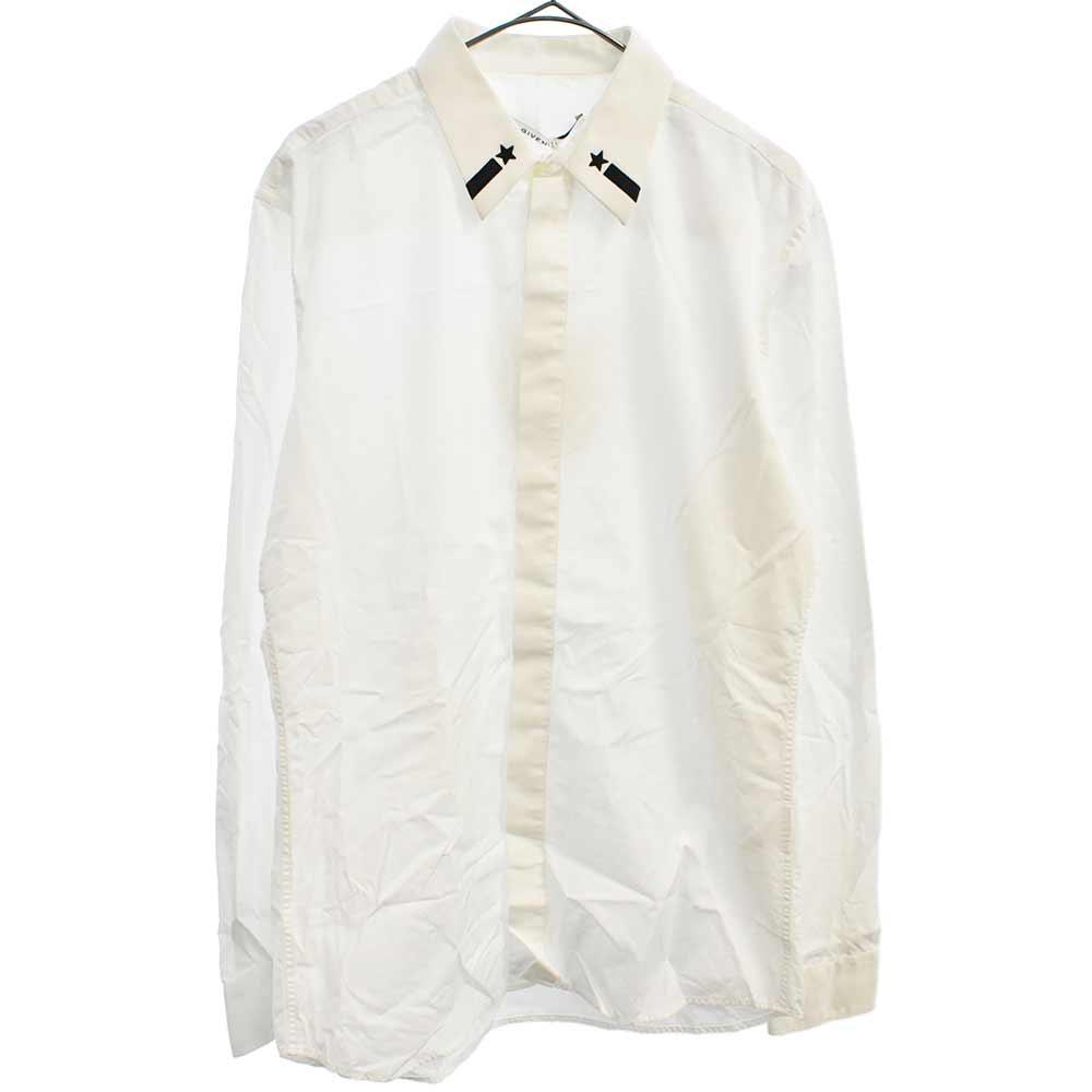 スター刺繍入り比翼仕立て長袖ドレスシャツ