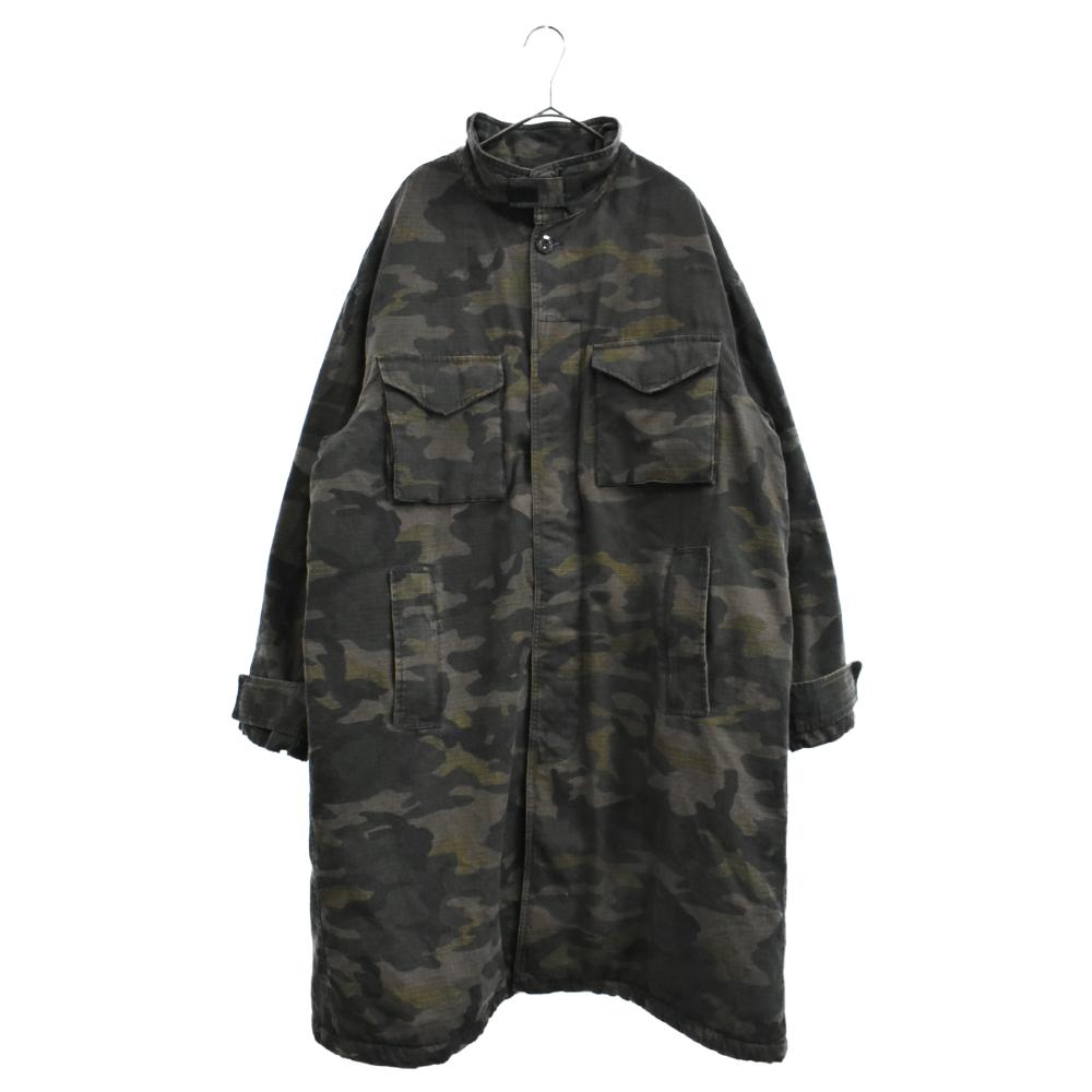 裏ボアカモフラージュ柄ミリタリージャケット コート