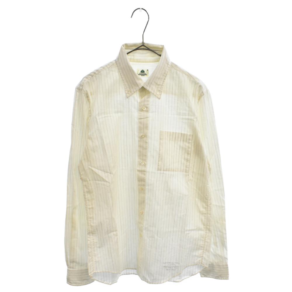胸ポケット付きストライプロゴプリントロングスリーブシャツ 長袖