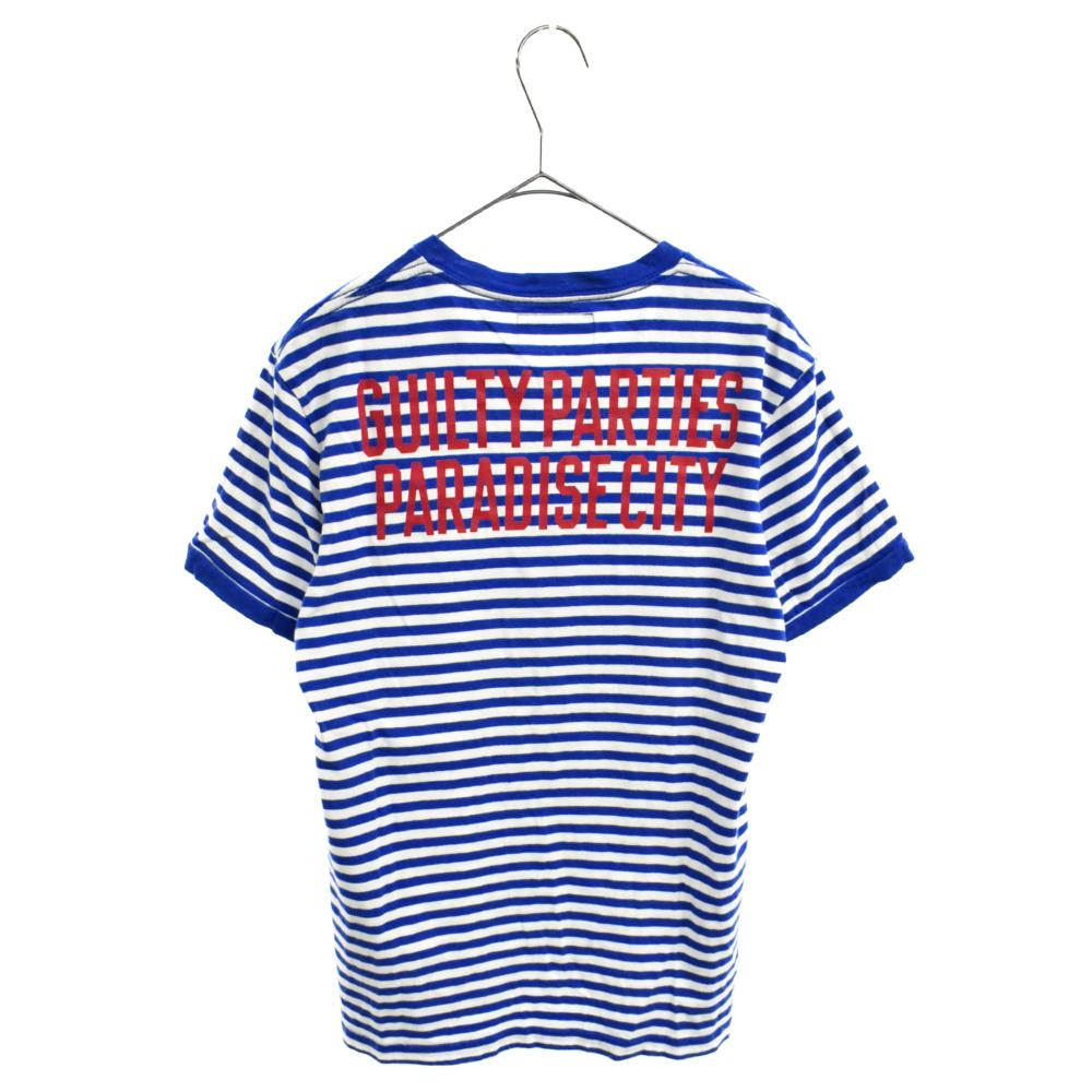 バックロゴプリントクルーネックボーダー半袖Tシャツ