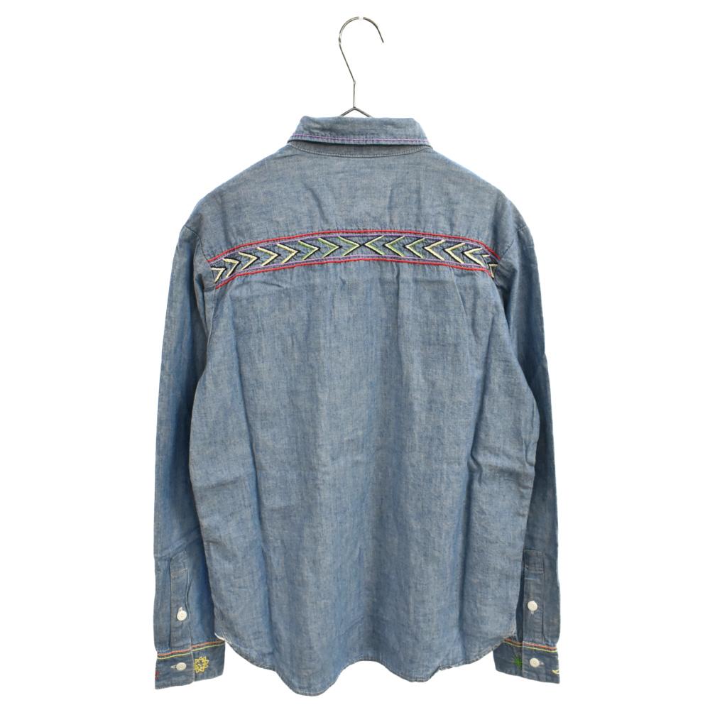 刺繍デザインロングスリーブインディゴ染めシャツ デニム 長袖