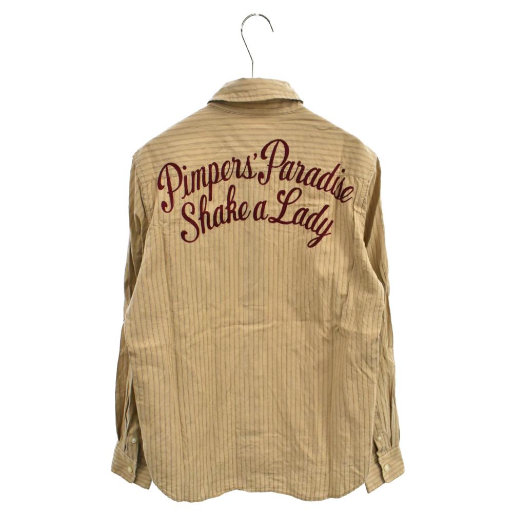 バックロゴ刺繍ストライプレーヨンロングスリーブシャツ 長袖