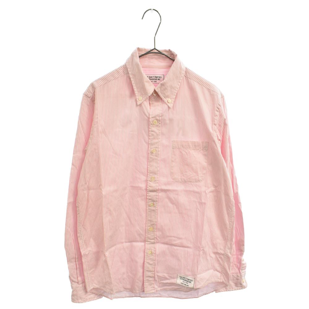 バックロゴプリントストライプロングスリーブドレスシャツ 長袖