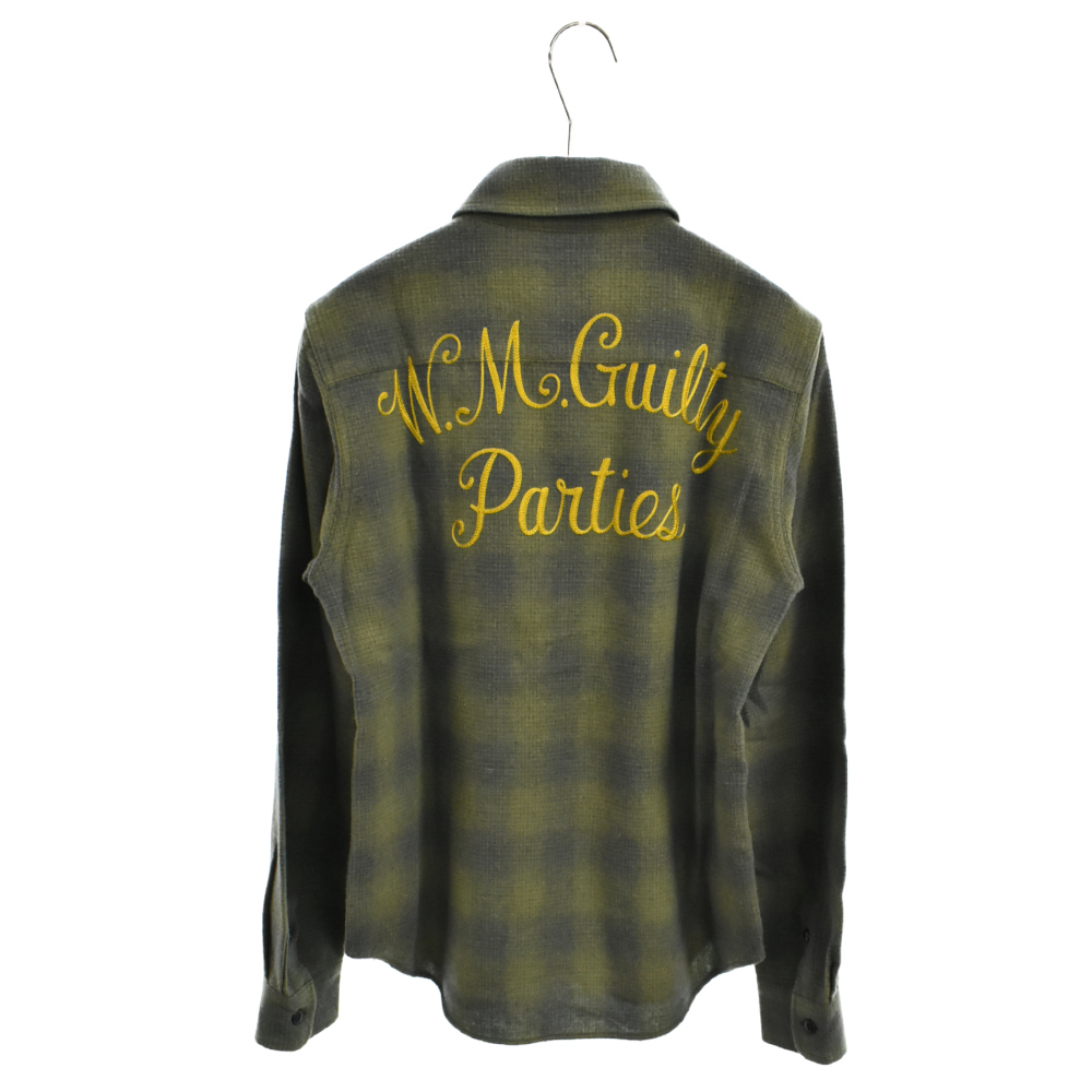 バックロゴ刺繍ウールチェックロングスリーブシャツ 長袖