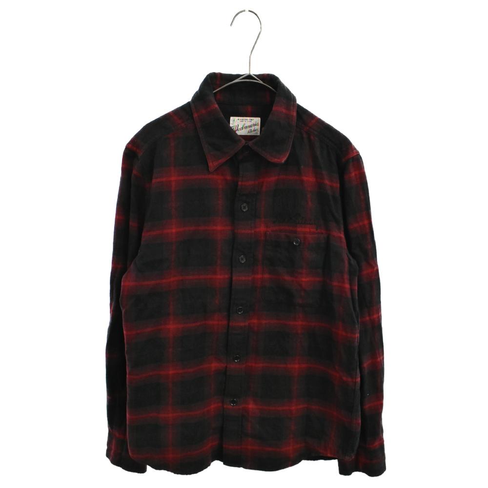 ROCKSTEADYバックロゴ刺繍レッドロングスリーブチェックシャツ 長袖