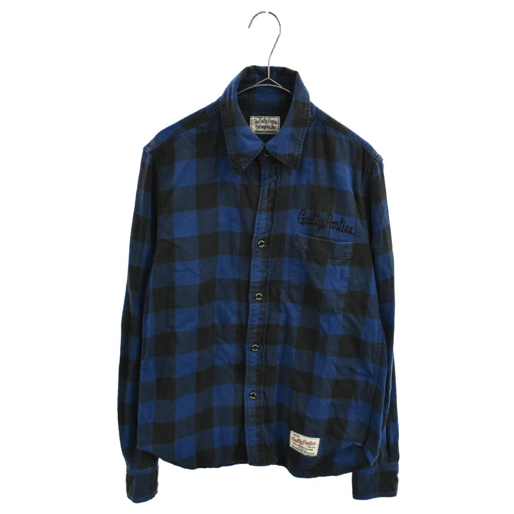 バックロゴプリント刺繍ロングスリーブネルチェックシャツ 長袖