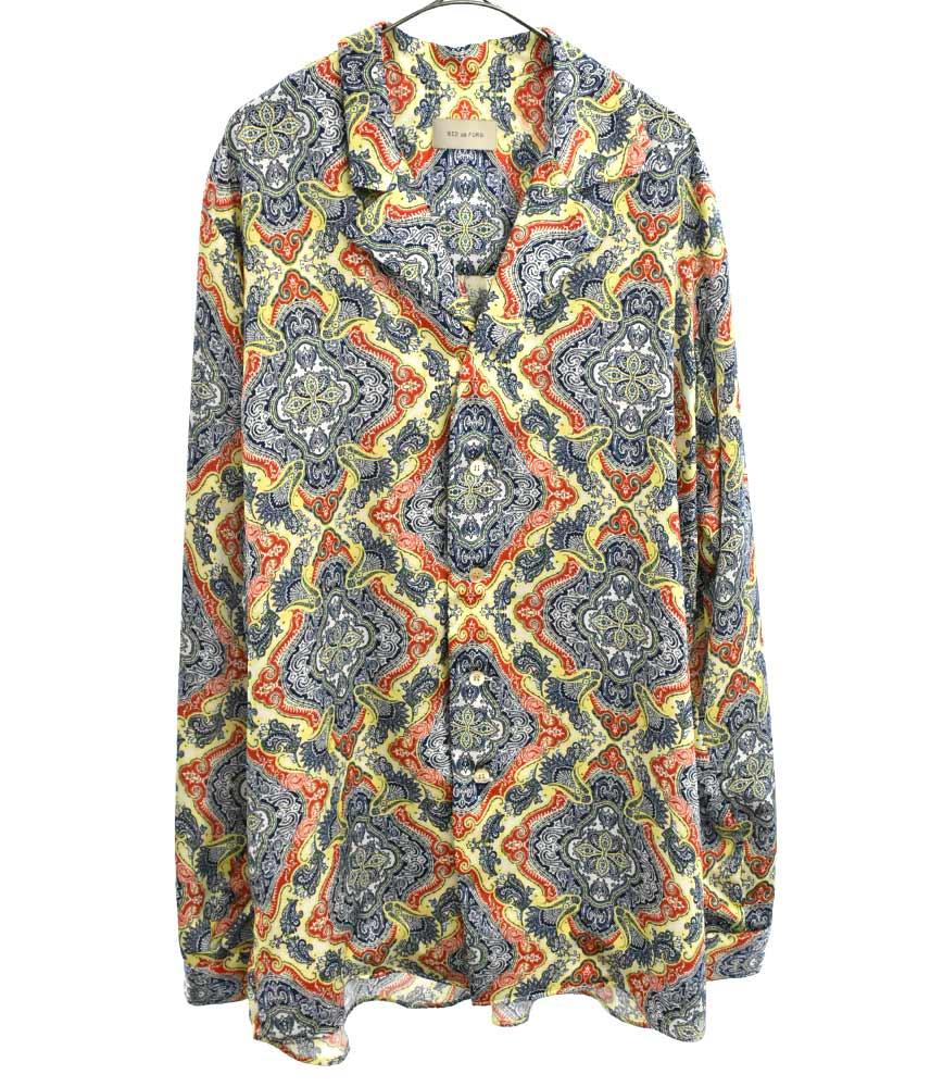 ペイズリー総柄開襟長袖シャツ