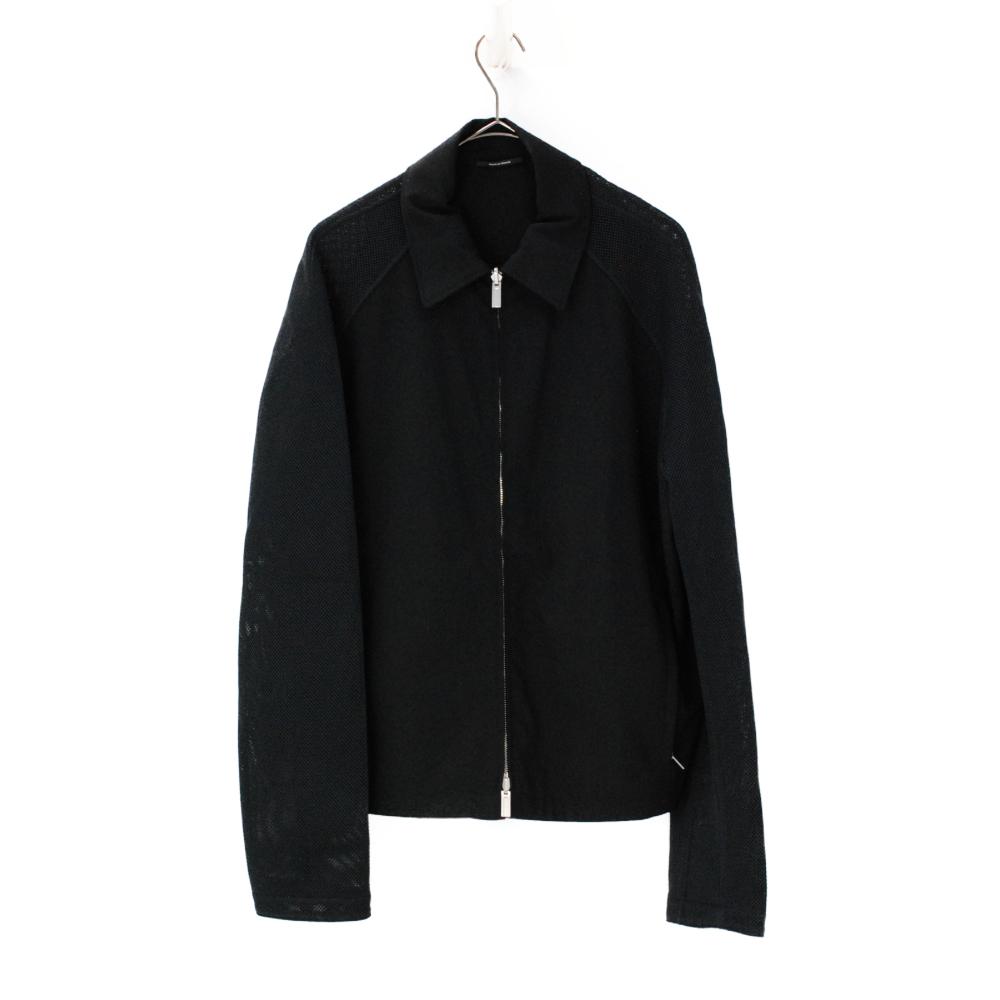 ラグランスリーブ ジップアップ リバーシブル ジャケット 黒 サイズ50