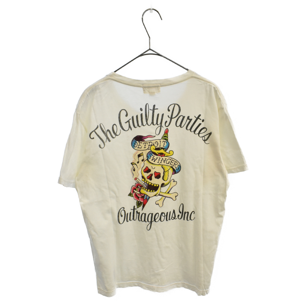 DETROIT SWINGERS バックスカルロゴプリントクルーネック半袖Tシャツ