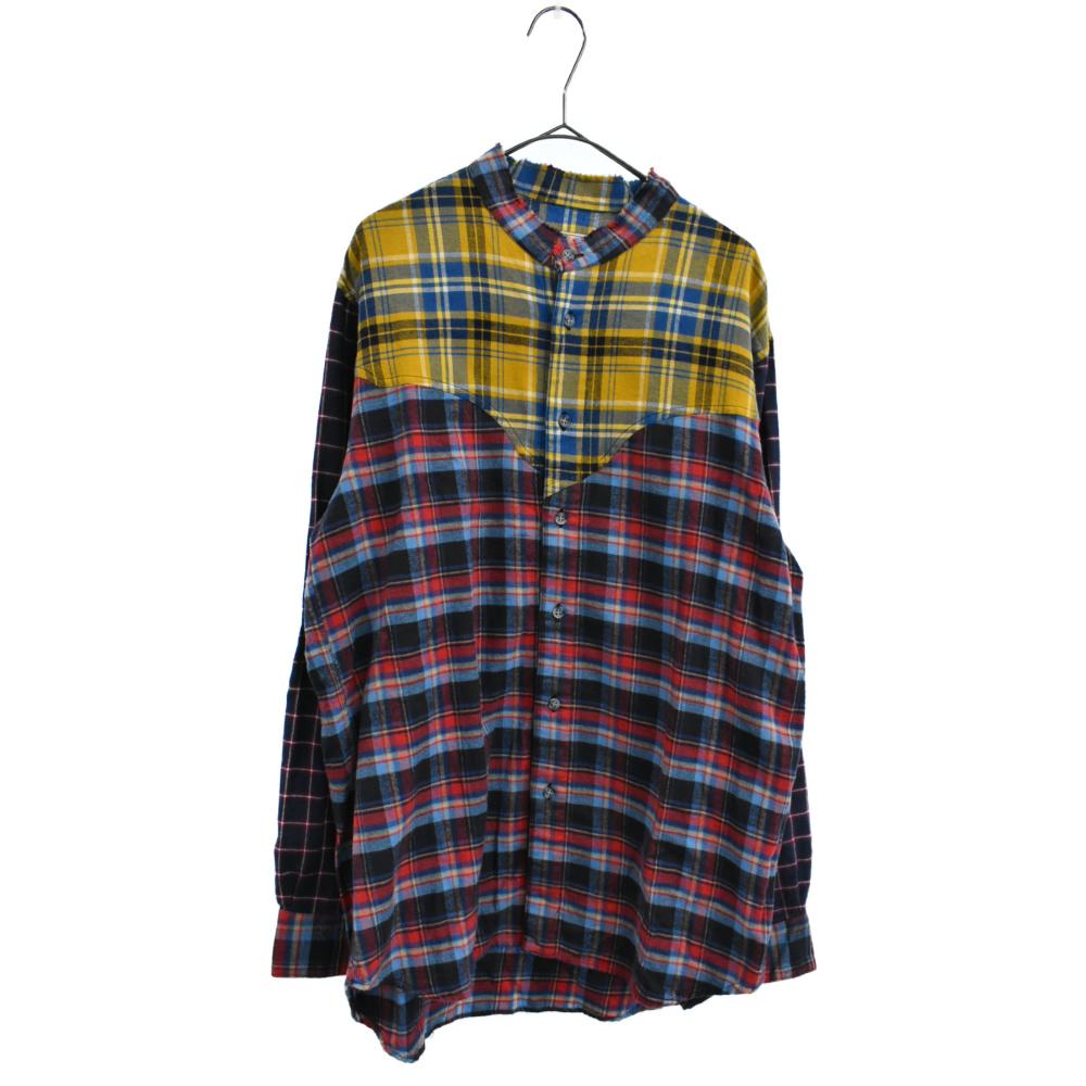 マルチチェックパターンノーカラー長袖シャツ